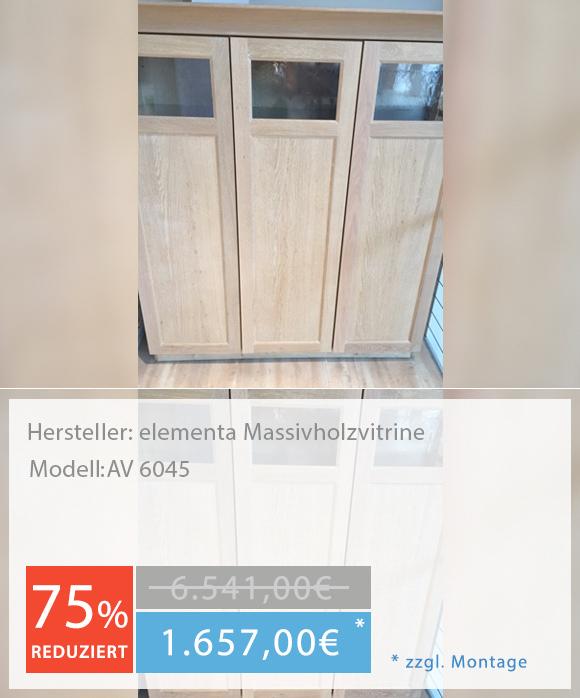 Musterküche Küchenstudio Hannover elementa Massivholzvitrine AV 6045
